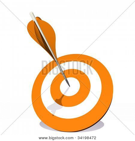 High resolution concept or conceptual orange dart target board with an arrow in  center isolated on white background,as success,competition,business,game,achievement,win,perfection,strategy or focus