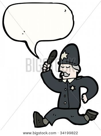 cartoon british policeman chasing