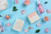 Flat Lay Composition With Natural Handmade Soap And Ingredients On Light Blue Background poster