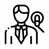 Man Host With Microphone Icon Vector. Outline Man Host With Microphone Sign. Isolated Contour Symbol poster