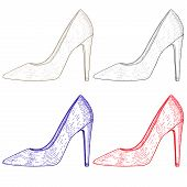 Shoe. Women High Heel. Hand Drawn Sketch. Vector Illustration Isolated On White Background poster