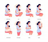 Breastfeeding. Breast Feed Position, Cute Young Woman Holds Baby And Natural Feeding Him. Motherhood poster