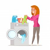 Woman Busy With Dirty Laundry Vector Illustration. Cartoon Wife, Mother Putting Clothes In Washing M poster