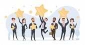 Rating Stars. People Holding In Hands Various Stars Of Ratings And Reviews Vector Business Concept.  poster