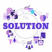 Business Solutions Concept With Icons. Solution And Success, Strategy Vector Illustration poster