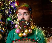 Santa Claus With Decorated Beard. Merry Christmas And Happy New Year. New Year Party. Surprised Happ poster