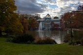 Beautiful, Historic Crystal Palace In The Retiro Park In Madrid, Spain. Crystal Palace In Fall, With poster