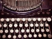 Close Up Of Vintage Fashioned Typewriting Machine. Conceptual Image Publishing, Blogging, Author Or  poster