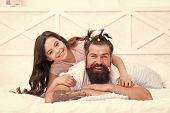 Happy Moment. Raising Girl. Create Funny Hairstyle. Child Making Hairstyle Styling Father Beard. Bei poster