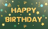 Happy Birthday Banner Balloon Text. Realistic Greeting Card Vector Illustration. Confetti Present Po poster