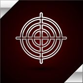 Silver Line Target Sport For Shooting Competition Icon Isolated On Dark Red Background. Clean Target poster
