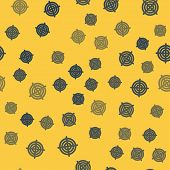 Blue Line Target Sport For Shooting Competition Icon Isolated Seamless Pattern On Yellow Background. poster
