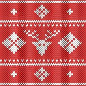 Knitted Christmas Pattern. Wool Festive Sweater With Reindeer. Design Template. Knitted Geometric Ba poster