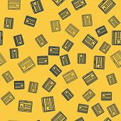 Blue Line Laptop With App Delivery Tracking Icon Isolated Seamless Pattern On Yellow Background. Par poster