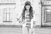 Cheerleading Club. Cute Child Wear Cap Or Snapback Hat. Little Girl Wearing Baseball Cap. Girl Long  poster