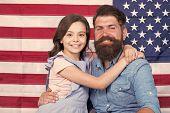 Patriotismt Begins At Home. Patriotic Family Showing Patriotism On American Flag Decor. American Pat poster