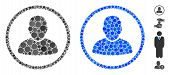 Rounded User Mosaic Of Round Dots In Different Sizes And Color Tints, Based On Rounded User Icon. Ve poster