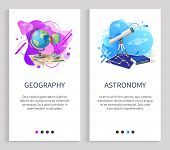Astronomy And Geography Vector, School Disciplines Lessons With Globe Model And Telescope, Science L poster