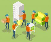 Moving Furniture Teamwork, Men Holding Armchair, Cupboard And Lamp, Bedside Table, Workers Relocatin poster