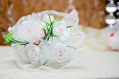 image of unnatural  - bridal bouquet of white lace with artificial flowers - JPG