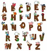 Alphabet with animals and farmers. Funny cartoon and vector isolated letters.