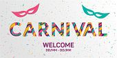 Carnival Word Made Of Paper Cut Multi Layers Letters. Fluid Carnival Welcome Concept  Vector Banner. poster