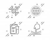 Medical Analyzes, Chemistry Dna And Globe Line Icons Set. Elastic Sign. Medicine Results, Chemical F poster