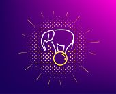 Elephant On Ball Line Icon. Halftone Pattern. Circus Sign. Amusement Park Show. Gradient Background. poster