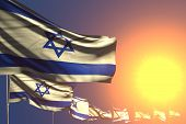 Cute Any Holiday Flag 3d Illustration  - Many Israel Flags On Sunset Placed Diagonal With Selective  poster