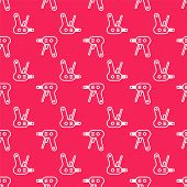 White Line Electric Hot Glue Gun Icon Isolated Seamless Pattern On Red Background. Hot Pistol Glue.  poster