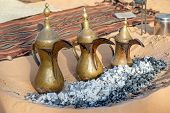 Arabic Traditional Coffee Pots, Hospitality Drink In Arabic Culture, Uae Heritage Concept poster