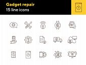 Gadget Repair Line Icon Set. Wrench, Gear, Smartphone, Computer. Digital Gadgets Concept. Can Be Use poster