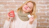 Cold And Flu Symptoms. Sick Woman With Sore Throat Drinking Cup Of Warm Tea. Pretty Girl With Nasal  poster