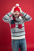 Knitwear Accessories. Winter Trends. Knitted Hat Scarf And Sweater. Winter Knitwear. Mature Man Red  poster