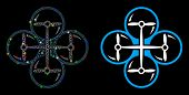 Glowing Mesh Quad Copter Icon With Lightspot Effect. Abstract Illuminated Model Of Quad Copter. Shin poster