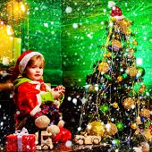 Merry Christmas And Happy New Year. Cute Boy Play Near Christmas Tree. Kid Enjoy Winter Holiday At H poster