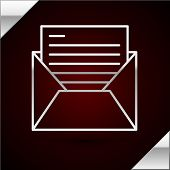 Silver Line Mail And E-mail Icon Isolated On Dark Red Background. Envelope Symbol E-mail. Email Mess poster
