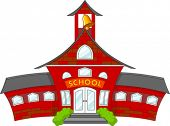 stock photo of school building  - Illustration of cartoon school building - JPG