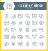 Set Of Outline Icons On Following Themes - Seo, Web Development, Web Optimization, Graphic Design, W poster