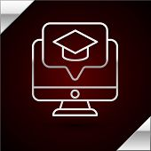 Silver Line Computer Monitor With Graduation Cap Icon Isolated On Dark Red Background. Online Learni poster
