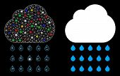 Glossy Mesh Rain Cloud Icon With Glitter Effect. Abstract Illuminated Model Of Rain Cloud. Shiny Wir poster