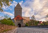 Rothenburger Tor (Gate) entrance to the Old Town of Dinkelsbuhl, a striking historic town on the nor poster