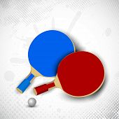 picture of ping pong  - Two table tennis rackets or ping pong rackets and ball on grungy dotted background in grey color - JPG