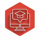 White Line Computer Monitor With Graduation Cap Icon Isolated With Long Shadow. Online Learning Or E poster