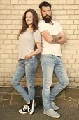 Family Bonds And Cohesion. Family Couple In Love Standing Together On Brick Wall. Family Of Sensual  poster