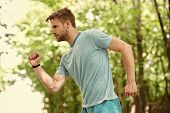 Sport Is Way Of Life. Sportsman Lifestyle. Handsome Athlete In Park. Male Beauty. Sport Wellbeing An poster