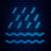 Glowing Neon Line Rain And Waves Icon Isolated On Brick Wall Background. Rain Cloud Precipitation Wi poster