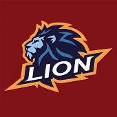 Lion Head Cool Logo Mascot Esport Vector Design Cartoon Icon poster