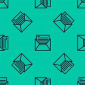Blue Line Mail And E-mail Icon Isolated Seamless Pattern On Green Background. Envelope Symbol E-mail poster