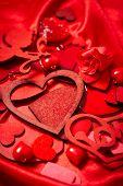 Valentines Day Background, Valentine Heart Red Silk Fabric, Wedding Love - Image poster